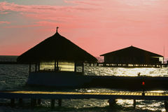Maldiverna solnedgång Arkivbild