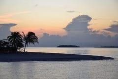 Maldiverna soluppgång Fotografering för Bildbyråer
