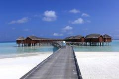 Maldiverna strandbro Arkivbild