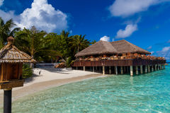 Maldiverna tropiskt paradis, stången royaltyfri fotografi