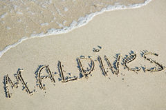 Maldives. Written on the sand Stock Images