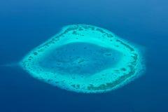 Maldives aerial panorama blue water reef Royalty Free Stock Photo