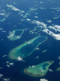 The Maldives - Aerial view of coral islands Stock Image
