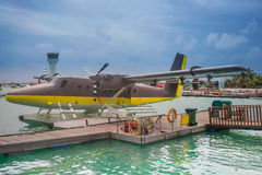 Maldives air taxi. Seaplane air taxi at Male airport in the Maldives Royalty Free Stock Photography