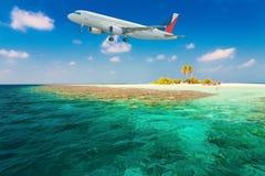 Maldives, airplane royalty free stock photos