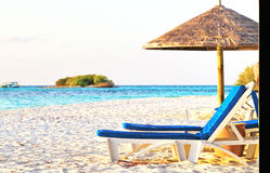 Maldives beach bench and umbrella Stock Photography