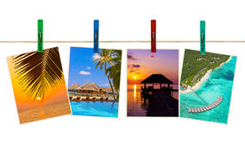 Maldives beach images (my photos) on clothespins Royalty Free Stock Photo