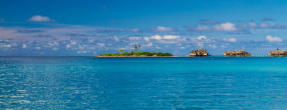 Maldives beach lagoon panorama under the blue sky Royalty Free Stock Photo
