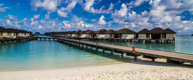 Maldives beach lagoon panorama under the blue sky Stock Images