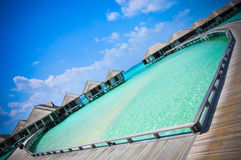 Maldives  beach ocean blue water heart-shaeped Stock Photography