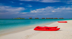 Maldives beach panorama under the blue sky Royalty Free Stock Image