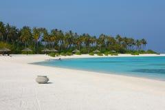 Maldives beach. The parasol on Maldives beach stock photography