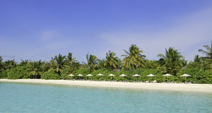 Maldives Beach Resort. Beach of White Sands Island at the maldives Stock Image