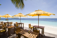 Maldives beach resorts. On Angsana Ihuru island Stock Photos
