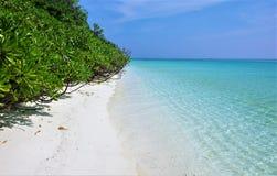 Maldives beach Thoddoo island. Maldives beach, white sand, turquoise water Royalty Free Stock Image