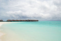Maldives beach. Water bungalows on the Maldives beach Stock Photography