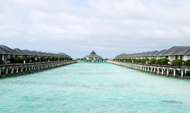 Maldives beach. Water bungalows on the Maldives beach Royalty Free Stock Image
