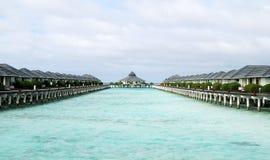 Maldives beach. Water bungalows on the Maldives beach royalty free stock image