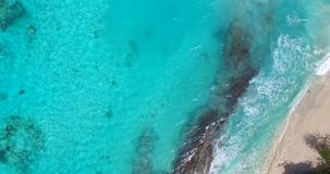 Maldives beautiful beach background white sandy tropical paradise island with blue sky sea water ocean 4k aerial stock video