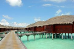 Water villa. The beautiful beach in Maldives island Royalty Free Stock Photos
