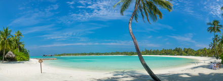 Maldives beautiful beach landscape panoramic view Royalty Free Stock Photography