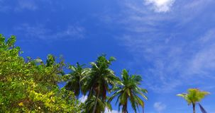 Maldives beautiful white sandy beach background with palm trees on sunny tropical paradise island with aqua blue. Sky sea water ocean 4k Royalty Free Stock Photography