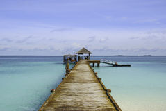 Maldives Boat Jetty. The jetty of White Sands Island at the Maldives Royalty Free Stock Photography