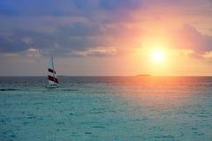Maldives. A boat at ocean stock photography