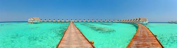Maldives-Bungalowe Panorama Stockfoto