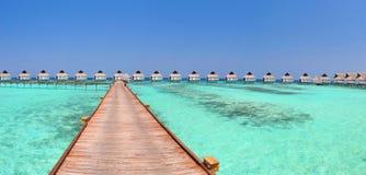 Maldives-Bungalowpanorama Stockfoto