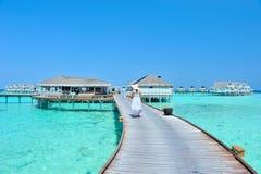 Maldives-Bungalowpanorama Lizenzfreie Stockfotos