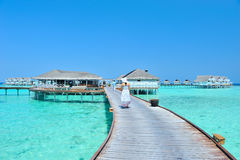 Maldives bungalows panorama Royalty Free Stock Photos