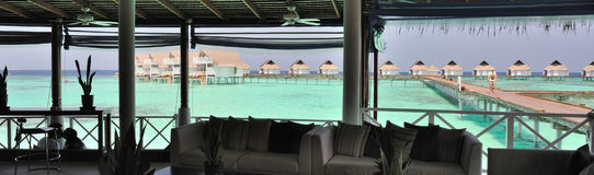 Maldives bungalows panorama view Royalty Free Stock Photo