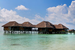 The Maldives coast of villas Stock Photos