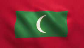 Maldives Flag. With fabric texture. 3D illustration Royalty Free Stock Photos