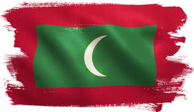 Maldives Flag. With fabric texture. 3D illustration Stock Photography