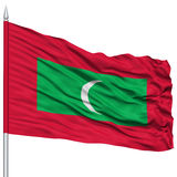 Maldives Flag on Flagpole. Flying in the Wind, Isolated on White Background Stock Photo