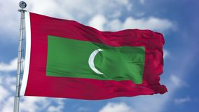 Free Maldives Flag In A Blue Sky Stock Photography - 113361752