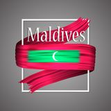 Maldives flag. Official national colors. Maldives 3d realistic stripe ribbon. Vector   icon sign background. Maldives flag. Official national colors. Maldives Stock Photos