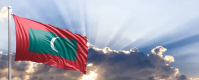 Free Maldives Flag On Blue Sky. 3d Illustration Stock Photography - 101056302