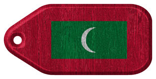 Maldives flag. Painted on wooden tag Stock Photography