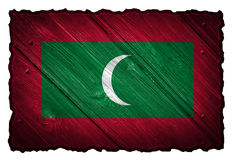 Maldives flag. Painted on wooden tag Royalty Free Stock Photography