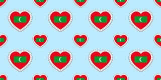 Maldives flags background. Vector stikers. Maldivian flag seamless pattern.Love hearts symbols. Good choice for travel company,tou stock illustration
