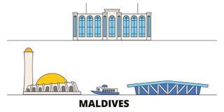 Maldives flat landmarks vector illustration. Maldives line city with famous travel sights, skyline, design. Maldives flat landmarks vector illustration stock illustration