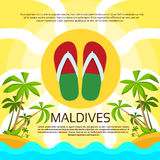 Maldives Flip-flops Tropical Island Flag Color Stock Image