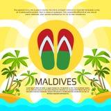 Maldives Flip-flops Tropical Island Flag Color Stock Image