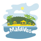 Maldives flyer. With the beach and palm trees Royalty Free Stock Photography