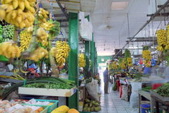 Maldives fruit market. Overall view down a main aisle of a Maldives indoor fruit market Royalty Free Stock Photography