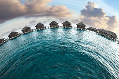 Maldives. houses on piles on water Royalty Free Stock Image