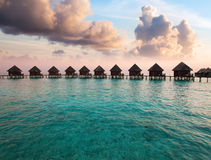 Maldives. houses on piles on water Royalty Free Stock Images